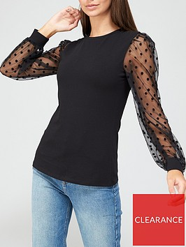 v-by-very-long-sleeve-mesh-spot-top-black
