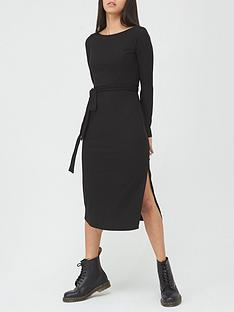 v-by-very-soft-touch-rib-tie-waist-column-midi-dress-black