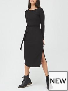 v-by-very-soft-touch-rib-tie-waist-column-midi-dress-black