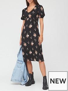 v-by-very-seam-waist-midi-dress-blackfloral