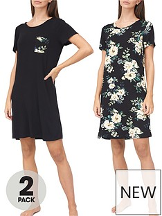 v-by-very-valuenbsp2-pack-nightdress-blackfloral