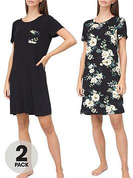 v-by-very-valuenbsp2-pack-nightdress-blackfloral