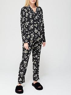 v-by-very-button-through-wovennbsppyjamas-black-floral