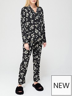 v-by-very-daisy-button-through-woven-mothers-day-pyjamas-black-floral