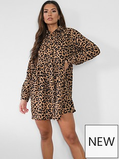 missguided-missguided-long-sleevenbspshirt-smock-dress-brownnbspleopard-print