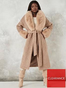 missguided-missguided-faux-fur-cuffnbspmidaxi-coat-brown