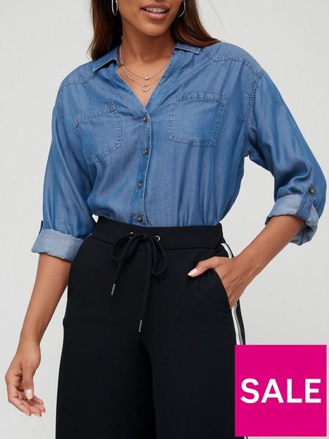 v-by-very-valuenbspsoft-touch-denim-casual-shirt-dark-wash