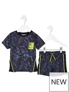 river-island-mini-mini-boys-active-camo-mesh-tshirt-and-short-set-navy