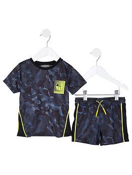 river-island-mini-mini-boys-active-camo-mesh-tshirt-and-short-set-navy