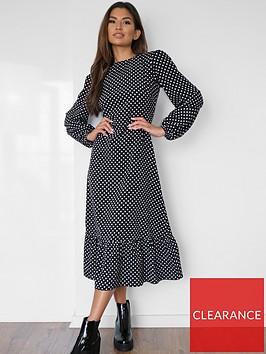 missguided-missguided-tiered-hem-midi-dress-ls-polka