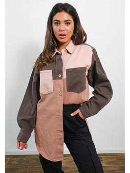 missguided-missguided-oversized-contrast-panel-shirt-burgundy