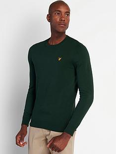 lyle-scott-crew-neck-cotton-merino-jumper-green