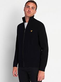 lyle-scott-knitted-ribbed-zip-through-cardigan-black