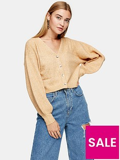 topshop-balloon-sleeve-cropped-knitted-cardigan-camel