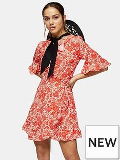 topshop-oriental-mini-wrap-dress-red
