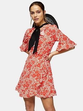 topshop-oriental-mini-wrap-dress-red