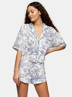 topshop-floral-viscose-pyjama-set--nbspblue