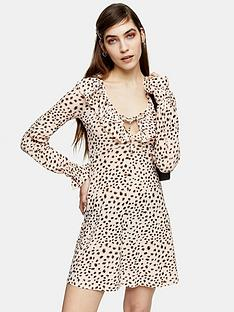 topshop-animal-ruffle-mini-dress-multi