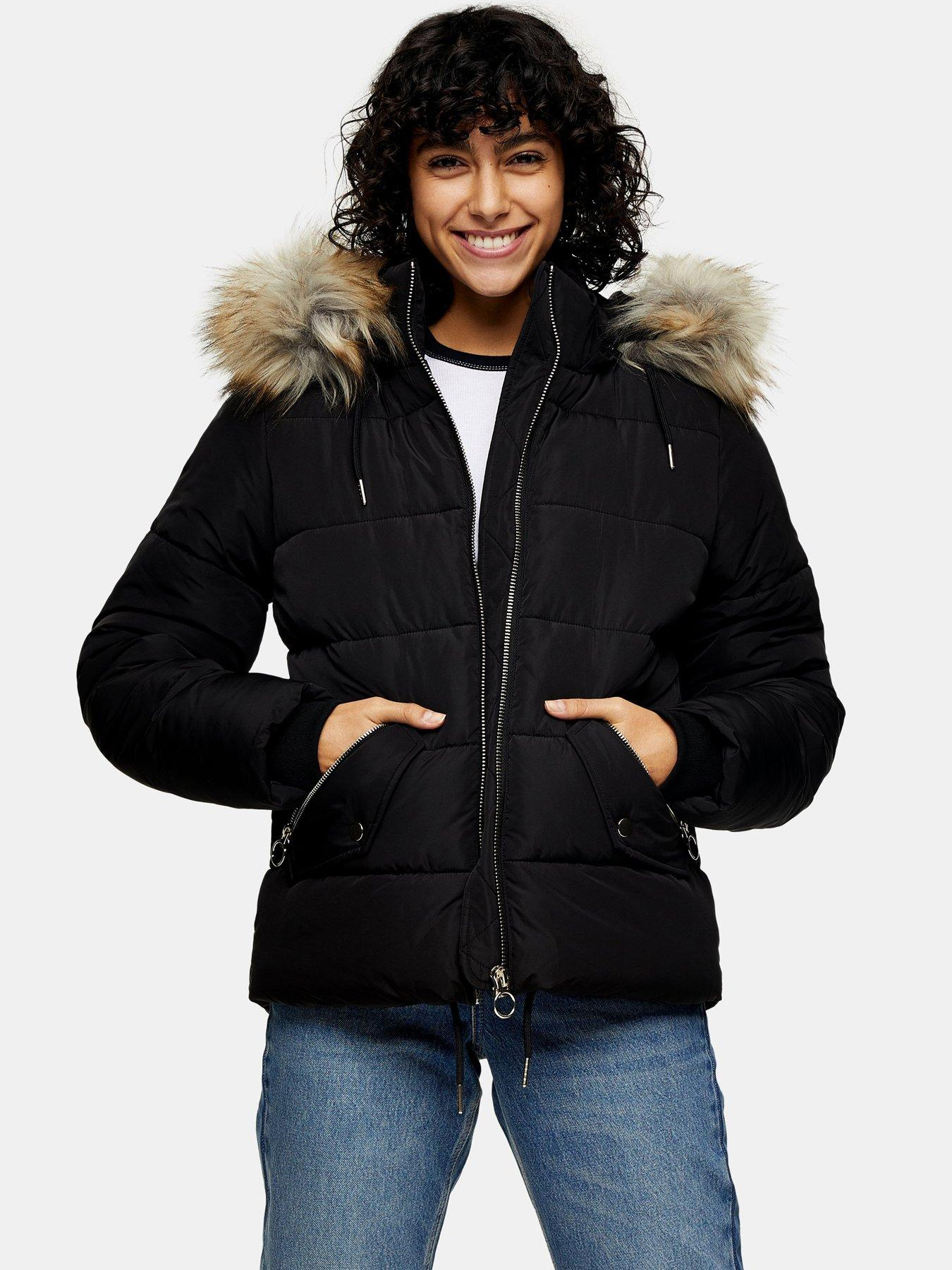 Details about WAS £60 New Look Black Warm Padded Parka Jacket School Coat Faux Fur Hooded