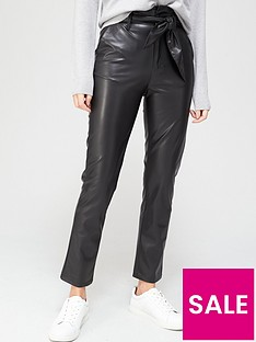 v-by-very-faux-leather-paperbag-waist-slim-leg-trousers-blacknbsp