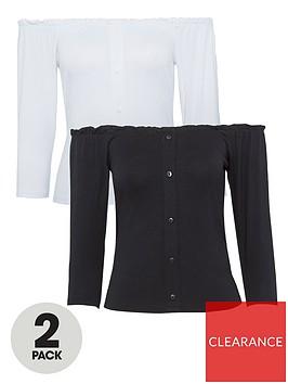 dorothy-perkins-2-pack-34-sleeve-milkmaid-top-blackwhite