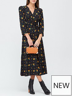 lk-bennett-gabrielle-forget-me-not-print-puff-shoulder-midi-dress-black