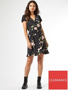 dorothy-perkins-floral-wrap-ruffle-hem-mini-dress-black