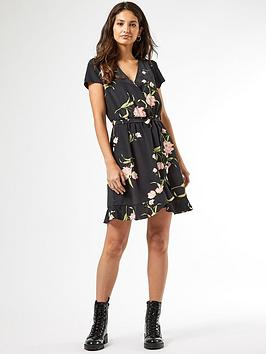 dorothy-perkins-floral-wrap-ruffle-hem-mini-dress-black