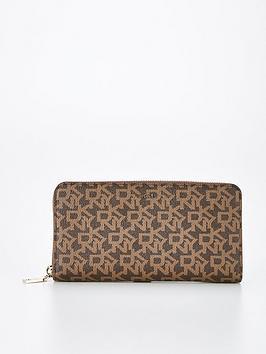 dkny-bryant-zip-around-purse-brown