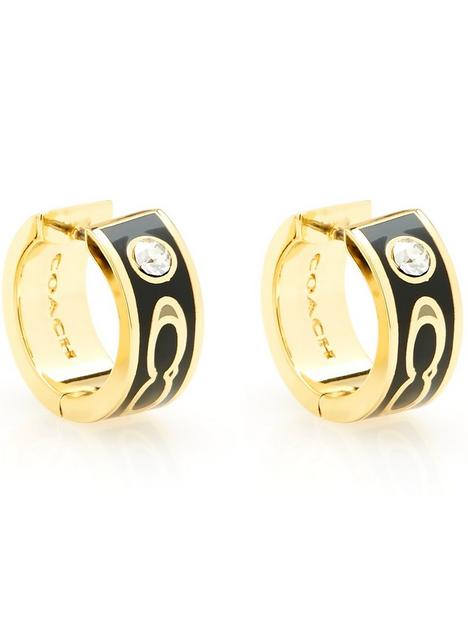 coach-enamel-kissing-c-huggie-earrings-goldblack