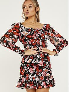 quiz-chiffon-floral-frill-bodycon-dress-red