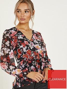 quiz-chiffon-floral-print-frill-peplum-top-red