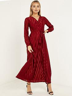 quiz-chevron-wrap-front-cuff-sleeve-stripe-maxi-dress-wine