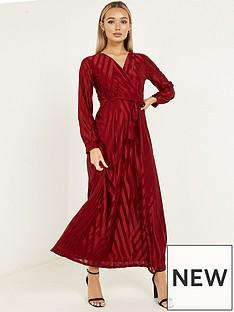 quiz-chevron-wrap-front-cuff-sleeve-stripe-maxi-dress-wine