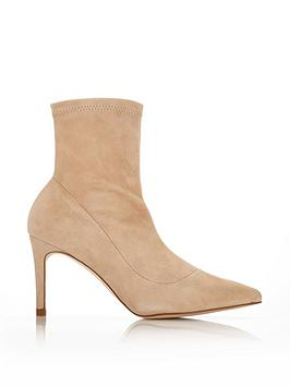 L.K. Bennett Allie Pointed Toe Stretch Suede Sock Boots - Beige
