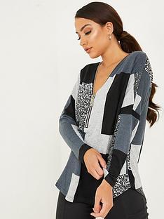 quiz-quiz-grey-light-knit-patchwork-print-long-sleeve-top