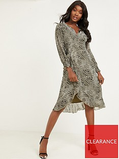 quiz-ditsy-print-georgette-shearing-long-sleeve-wrap-midi-dress-khaki