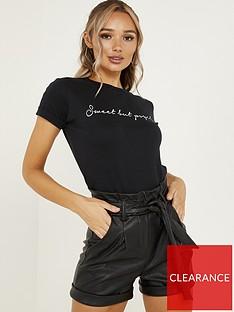 quiz-pu-high-waist-tie-belt-short-black