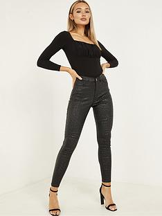 quiz-stretch-pu-coat-animal-print-one-button-skinny-jeans-black