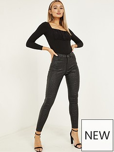 quiz-stretch-pu-coat-animal-print-one-button-skinny-jeans-black