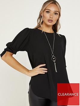 quiz-bubble-crepe-tie-sleeve-necklace-top-black