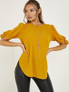 quiz-bubble-crepe-tie-sleeve-necklace-top-mustard