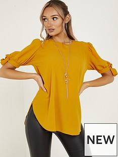 quiz-bubble-crepe-tie-sleeve-necklace-top-mustard