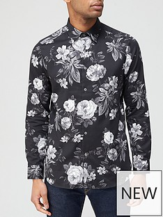 ted-baker-eacuteclair-floral-monochrome-print-shirt-black