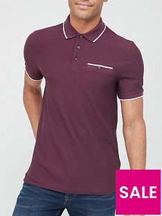 ted-baker-chorus-tipped-collar-waffle-polo-shirt-purple
