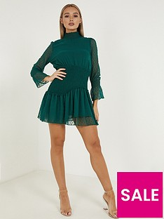 quiz-dobbynbsphigh-necknbspskater-dress-green
