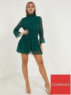 quiz-dobbynbsphigh-necknbspskater-dress-green