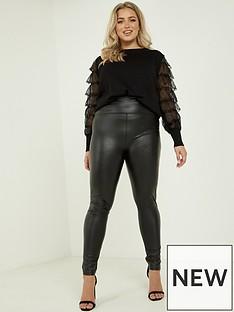 quiz-curve-pu-high-waist-leggings-black