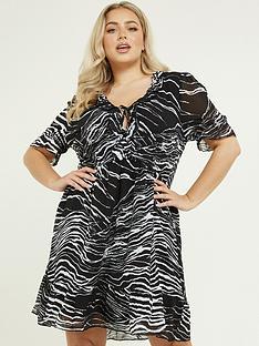 quiz-curve-zebra-print-shortnbspsleeve-frill-detail-dress-black