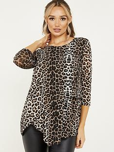 quiz-quiz-brown-light-knit-leopard-round-neck-asymmetric-hem-34-sleeve-top